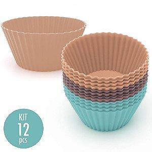 Kit com 12 Mini Formas de Silicone para Cupcake e Bolos - Cores Pastel