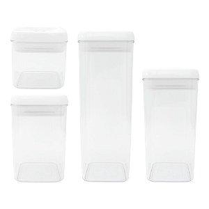 Conjunto 4 Potes Herméticos em Acrílico - 0,4L / 0,8L / 1,2L / 1,9L