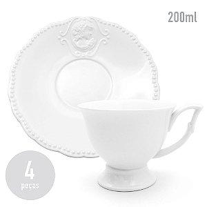 Conjunto 4 Xícaras em Porcelana White Queen - 200ml