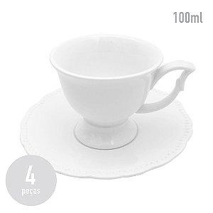 Conjunto 4 Xícaras em Porcelana White Queen - 100ml
