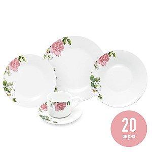 Aparelho de Jantar 20 Peças Porcelana - Rosa Floral