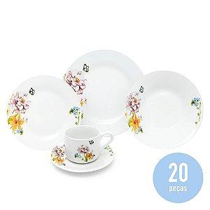 Aparelho de Jantar 20 Peças Porcelana - Borboleta Floral