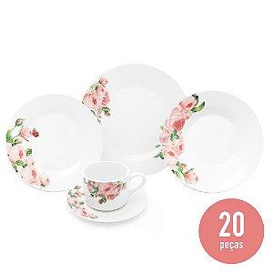 Aparelho de Jantar 20 Peças Porcelana - Vermelho Floral