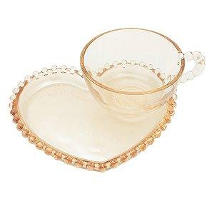 Xícara de chá Cristal Pearl 180ml c/ Prato Coração - Ambar