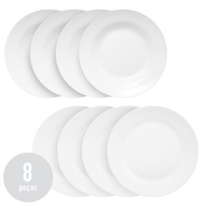 Conjunto 8 Pratos Clean Branco - 4 Rasos e 4 Fundos