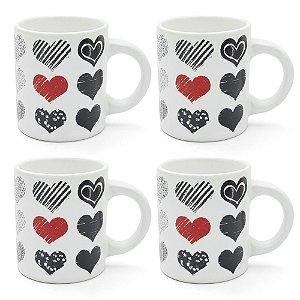 Conjunto 4 Xícaras em Cerâmica 85ml - Hearts