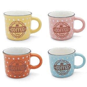 Conjunto 4 Xícaras em Cerâmica Estampadas Coloridas - 60ml