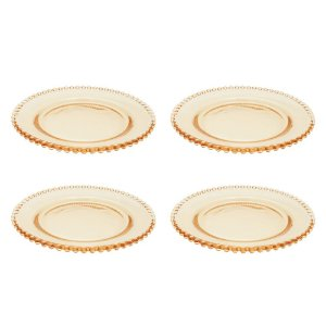 Conjunto 4 Pratos Cristal Pearl 20cm - Ambar