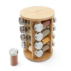 Porta Temperos Giratório em Bambu 16 potes - Redondo