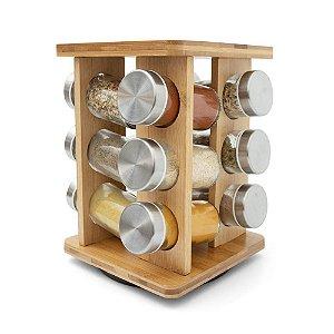 Porta Temperos Giratório em Bambu 12 potes - Quadrado