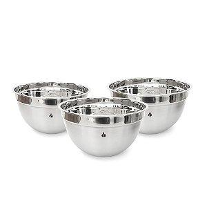 Conjunto 3 Bowls Graduados Gourmet em Aço Inox - 22, 26 e 28cm