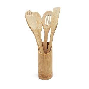 Kit Utensílios em Bambu 5 Peças
