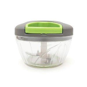 Mini Processador de Alimentos com 3 Lâminas - Cinza e Verde
