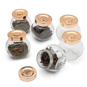 Kit com 6 Porta Condimento em Vidro e Tampa Plástica