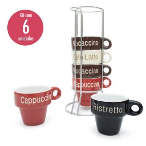 Conjunto 6 Xícaras para Café com Suporte em Aço Inox 70ml