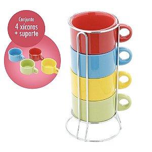 Conjunto 4 Xícaras Coloridas de Chá com Suporte em Aço Inox 200ml