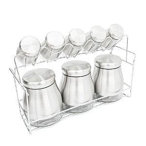 Porta Temperos Condimento C/ Suporte Em Inox E Vidro - 8 Potes