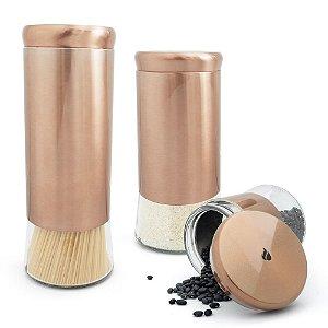 Conjunto 3 Potes Herméticos em Inox e Vidro - Rose Gold