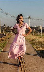 Vestido Camadas Rosa Chiclete Manga Curta Feminino