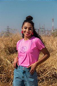 T-shirt Feminina Manga Curta Rosa Pink