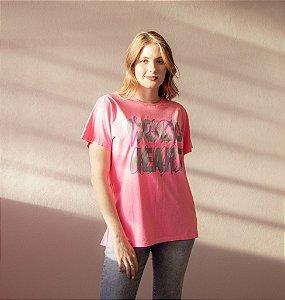 T-shirt Feminina Manga Curta Rosa
