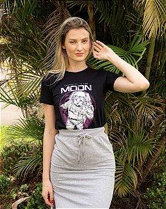 T-shirt Feminina Preta Gato Astronauta