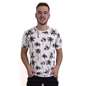 Camiseta Masculina Manga Curta Estampa Branca