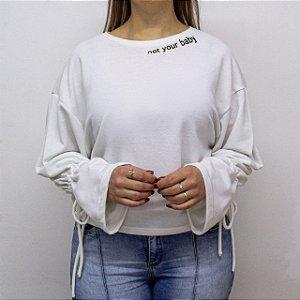 Blusão de Moletom Feminino Cor Gelo