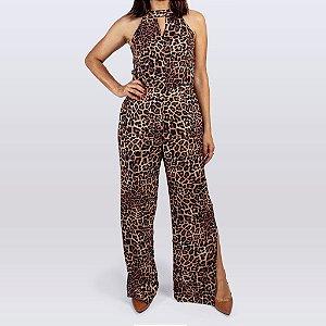 Macacão Pantalona Feminino com Fenda Cor Onça Marrom
