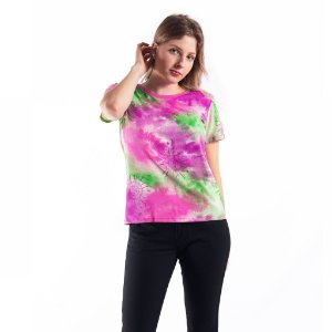 T-shirt Tie Dye Feminina Manga Curta
