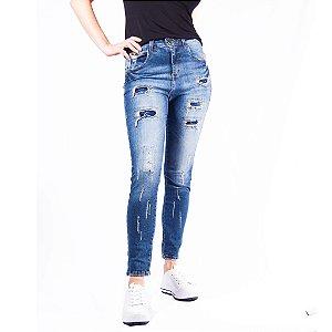 Calça Cigarrete Jeans Destroyed Feminina