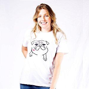 T-shirt Pug Feminina Manga Curta