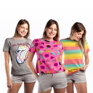 Kit 3 T-shirts Femininas