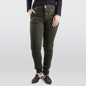 Calça Jeans/Sarja Feminina Verde Militar Hoje Collection