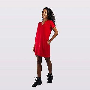 Vestido Feminino Manga Curta Vermelho