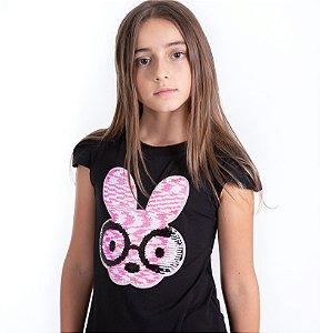 T-Shirt coelho óculos preto