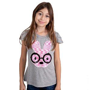 T-Shirt coelho óculos cinza