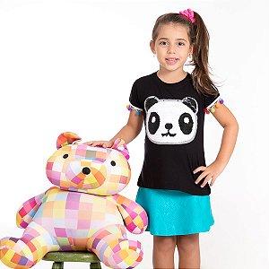T-Shirt panda lantejoula manga pompom