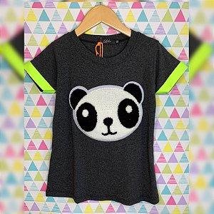 T-Shirt panda pelúcia grafite manga amarelo neon