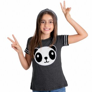 T-Shirt panda pelúcia manga cinza