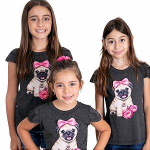 T-Shirt Pug 3D lacinho