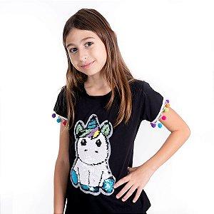 T-Shirt unicórnio manga pompom