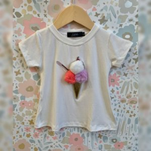 T-Shirt sorvete pompom dourado