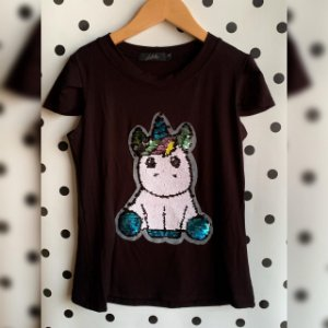 T-Shirt unicórnio lantejoula
