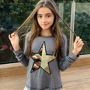 T-Shirt manga longa Estrela Camuflada