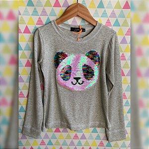 T-Shirt manga longa panda colorido