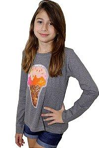 T-Shirt manga longa sorvete lantejoula