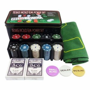 Fichas de Poker na lata com Toalha - 200 fichas