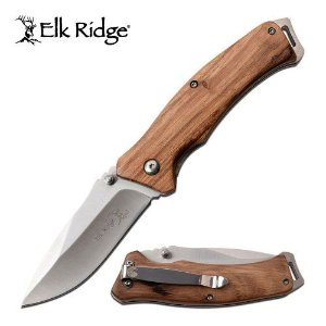 Canivete Clip Point Elk Ridge Talas Em Madeira - ER-A936ZW