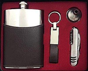 Kit Cantil para wisky com Canivete e Chaveiro